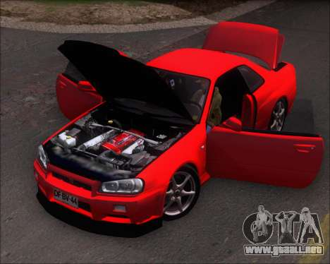 Nissan Skyline GT-R R34 V-Spec II para GTA San Andreas vista hacia atrás