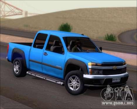 Chevrolet Colorado para GTA San Andreas vista posterior izquierda
