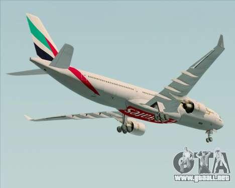 Airbus A330-300 Emirates para la vista superior GTA San Andreas