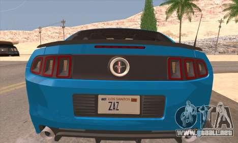 Ford Mustang Boss 302 2013 para GTA San Andreas vista hacia atrás