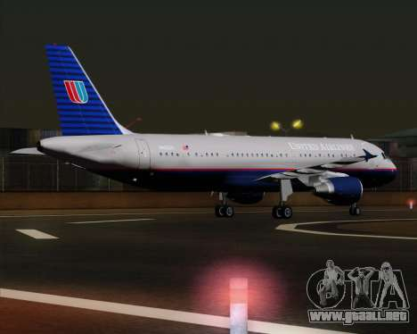 Airbus A320-232 United Airlines (Old Livery) para la visión correcta GTA San Andreas