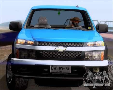 Chevrolet Colorado para vista inferior GTA San Andreas