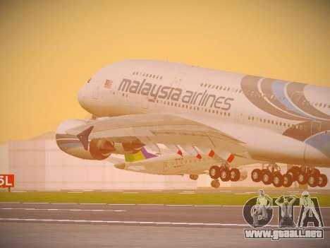 Airbus A380-800 Malaysia Airlines para vista lateral GTA San Andreas