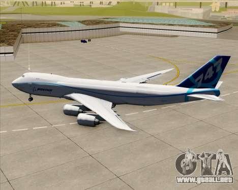Boeing 747-8 Cargo House Livery para GTA San Andreas vista hacia atrás