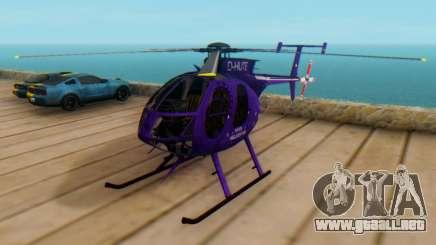 El MD500E helicóptero v1 para GTA San Andreas