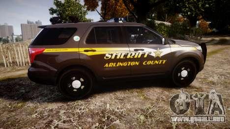 Ford Explorer 2013 Sheriff [ELS] Virginia para GTA 4 left