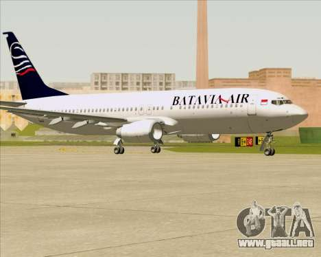 Boeing 737-800 Batavia Air para GTA San Andreas vista posterior izquierda