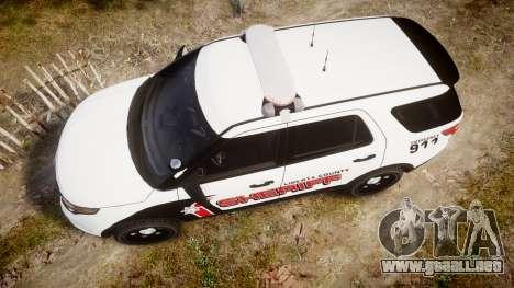 Ford Explorer 2013 LC Sheriff [ELS] para GTA 4 visión correcta