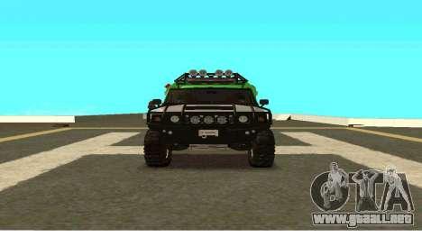 Hummer H2 Ratchet Transformers 4 para GTA San Andreas vista hacia atrás