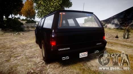 GTA V Declasse Granger Unmarked [ELS] Slicktop para GTA 4 Vista posterior izquierda