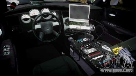 Dodge Charger 2010 PS Police [ELS] para GTA 4 vista hacia atrás