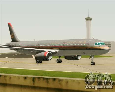 Airbus A321-200 Royal Jordanian Airlines para GTA San Andreas vista posterior izquierda