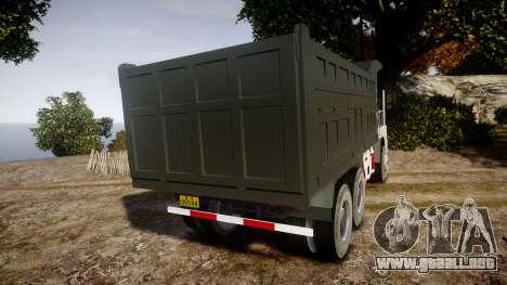 HOWO Truck para GTA 4 Vista posterior izquierda