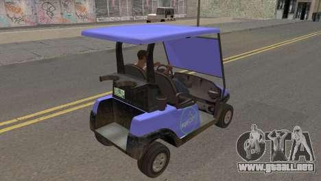 Caddy from GTA 5 para GTA San Andreas vista posterior izquierda