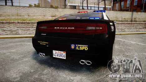 GTA V Bravado Buffalo LS Police [ELS] para GTA 4 Vista posterior izquierda