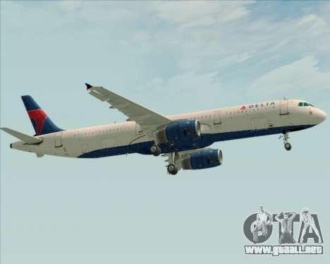 Airbus A321-200 Delta Air Lines para GTA San Andreas vista hacia atrás