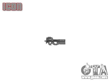 Pistola de Fabrique Nationale P90 para evitar se para GTA 4 tercera pantalla