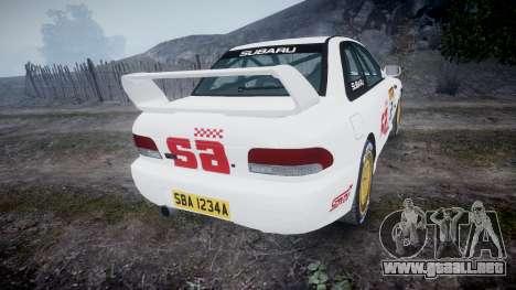 Subaru Impreza WRC 1998 SA Competio v3.0 para GTA 4 Vista posterior izquierda