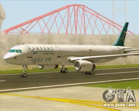 Airbus A321-200 Hansung Airlines para GTA San Andreas vista posterior izquierda