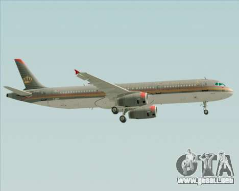 Airbus A321-200 Royal Jordanian Airlines para la vista superior GTA San Andreas