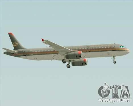 Airbus A321-200 Royal Jordanian Airlines para la vista superior GTA San Andreas