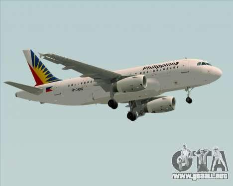 Airbus A319-112 Philippine Airlines para GTA San Andreas vista posterior izquierda