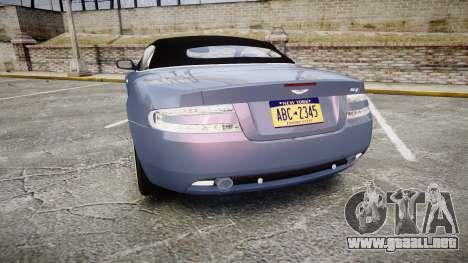 Aston Martin DB9 Volante 2005 VK Edition para GTA 4 Vista posterior izquierda