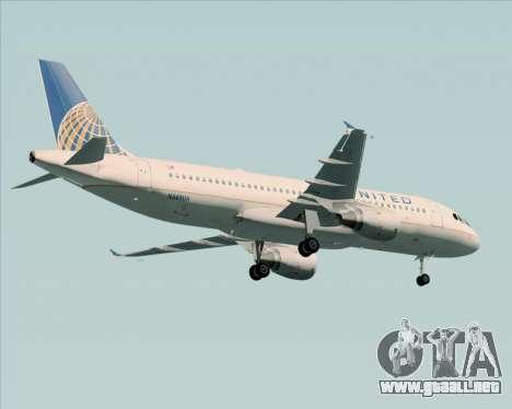 Airbus A320-232 United Airlines para vista inferior GTA San Andreas