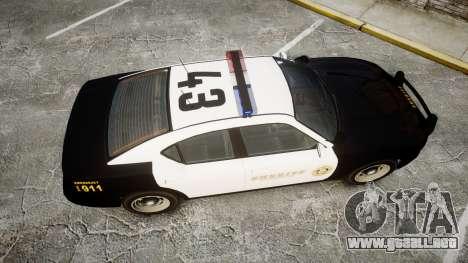 GTA V Bravado Buffalo LS Sheriff Black [ELS] para GTA 4 visión correcta