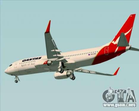 Boeing 737-838 Qantas (Old Colors) para GTA San Andreas vista posterior izquierda