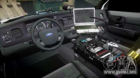 Ford Crown Victoria PS Police [ELS] para GTA 4 vista hacia atrás