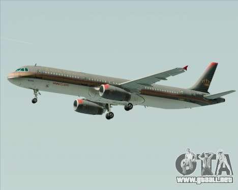 Airbus A321-200 Royal Jordanian Airlines para la visión correcta GTA San Andreas