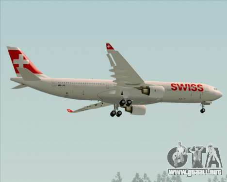Airbus A330-300X Swiss International Air Lines para GTA San Andreas vista hacia atrás