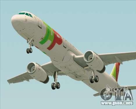Airbus A321-200 TAP Portugal para GTA San Andreas vista hacia atrás