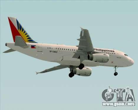 Airbus A319-112 Philippine Airlines para vista inferior GTA San Andreas