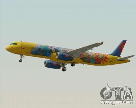 Airbus A321-200 para la vista superior GTA San Andreas