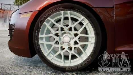 Audi R8 2010 Rotiform BLQ para GTA 4 vista hacia atrás
