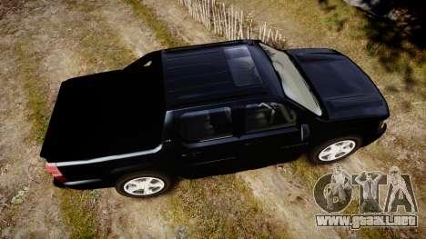 Chevrolet Avalanche 2008 Undercover [ELS] para GTA 4 visión correcta