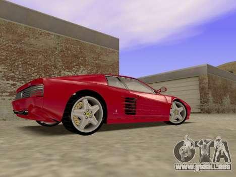 Ferrari 512TR para GTA San Andreas vista posterior izquierda