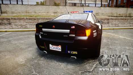 GTA V Cheval Fugitive LS Police [ELS] para GTA 4 Vista posterior izquierda