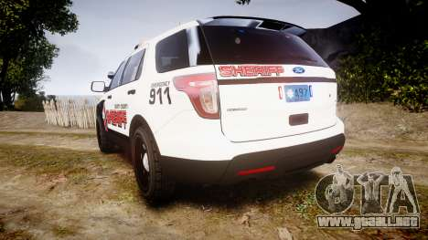 Ford Explorer 2013 LC Sheriff [ELS] para GTA 4 Vista posterior izquierda