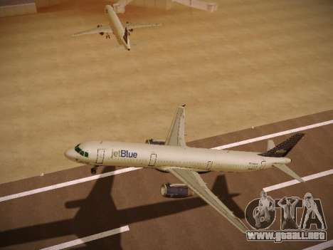 Airbus A321-232 jetBlue Woo-Hoo jetBlue para GTA San Andreas vista hacia atrás