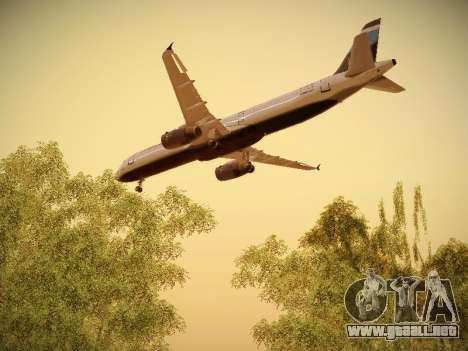 Airbus A321-232 Big Blue Bus para vista inferior GTA San Andreas