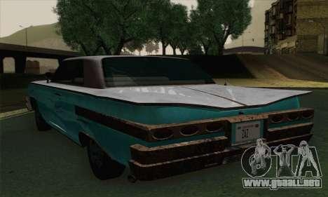 Declasse Voodoo para GTA San Andreas vista posterior izquierda