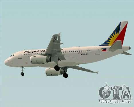 Airbus A319-112 Philippine Airlines para GTA San Andreas vista hacia atrás