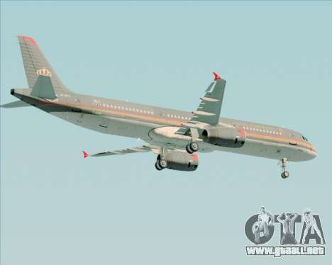 Airbus A321-200 Royal Jordanian Airlines para GTA San Andreas vista hacia atrás