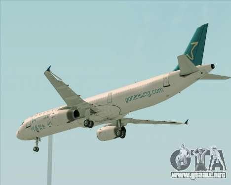 Airbus A321-200 Hansung Airlines para visión interna GTA San Andreas