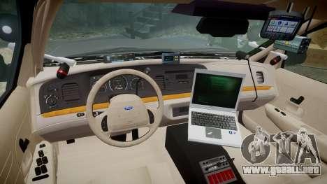Ford Crown Victoria LASD [ELS] Unmarked para GTA 4 vista hacia atrás