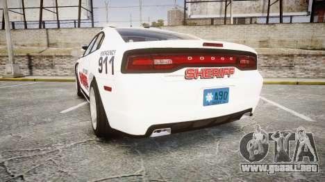 Dodge Charger RT 2013 LC Sheriff [ELS] para GTA 4 Vista posterior izquierda