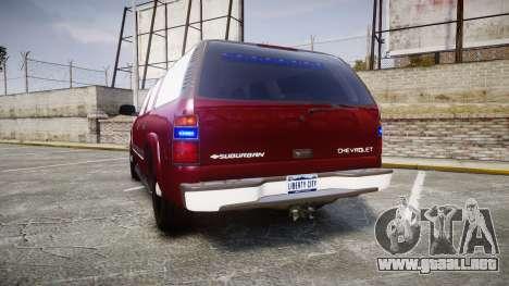 Chevrolet Suburban Undercover 2003 Black Rims para GTA 4 Vista posterior izquierda